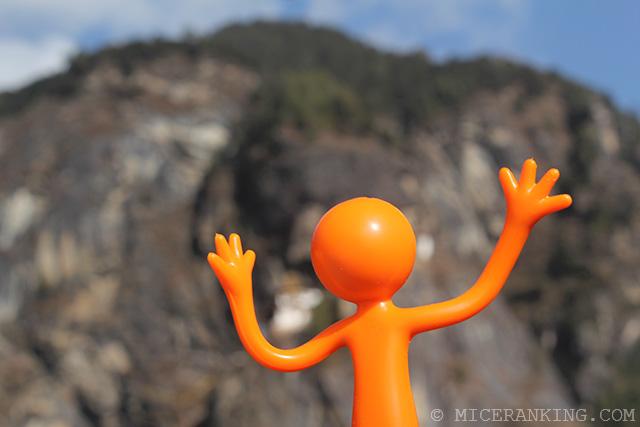 Stickman climbs Taksang